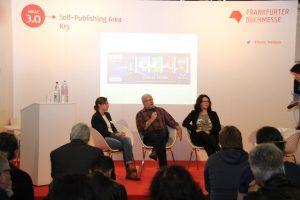 Expertenrunde zu Marketing bei Tolino mit Leona Engelen von Hugendubel und Patricia Gentner und Jördis Schulz von Tolino.